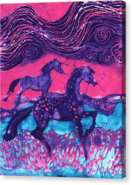 Painted Horses Below The Wind Canvas Print