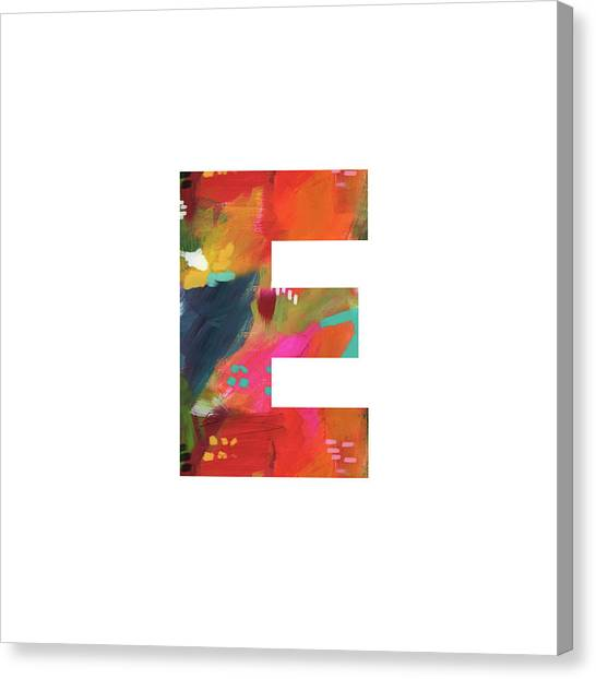 Named Canvas Print - Painted Letter E-monogram Art By Linda Woods by Linda Woods