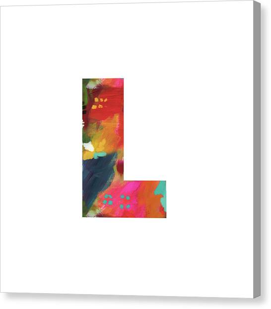 Named Canvas Print - Painted Letter L-monogram Art By Linda Woods by Linda Woods