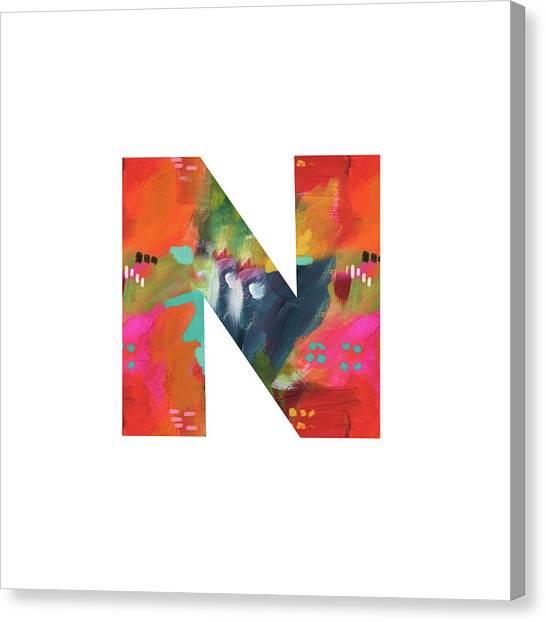 Noah Canvas Print - Painted Letter N-monogram Art By Linda Woods by Linda Woods