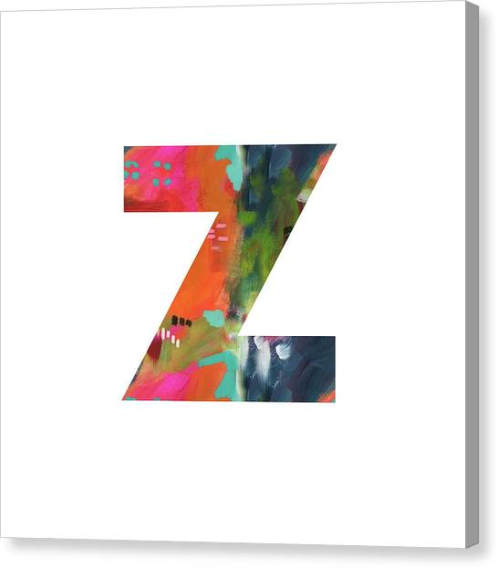 Named Canvas Print - Painted Letter Z-monogram Art By Linda Woods by Linda Woods