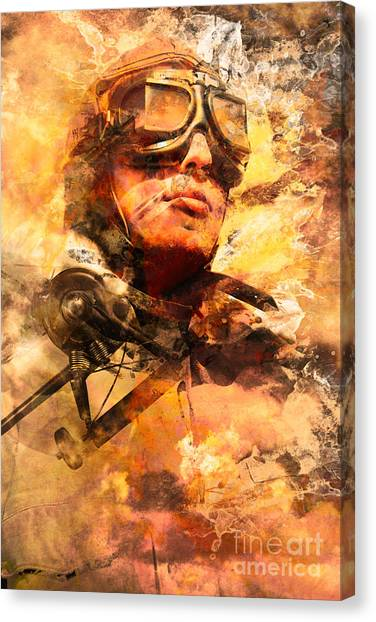 Canvas Print featuring the photograph Painted Pilots At War by Jorgo Photography - Wall Art Gallery