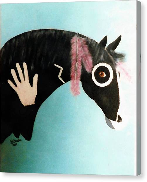 Painted Pony With Feather Canvas Print