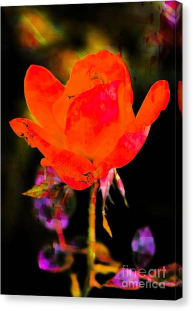 Canvas Print featuring the photograph Painted Rose by Michael Moriarty