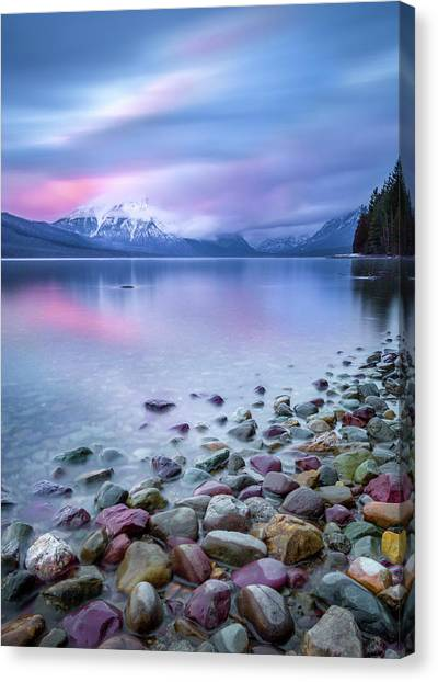 Canvas Print featuring the photograph Painted Skies Over Stanton Peak // Lake Mcdonald, Glacier National Park by Nicholas Parker