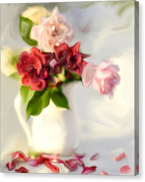 Roses Canvas Print - Painted Teas by Linde Townsend
