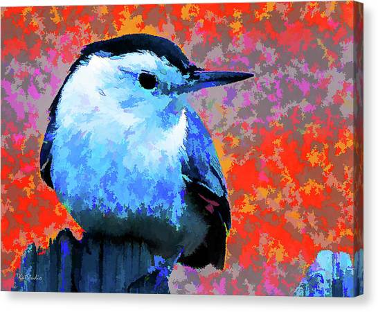 Painted White Breasted Nuthatch Canvas Print