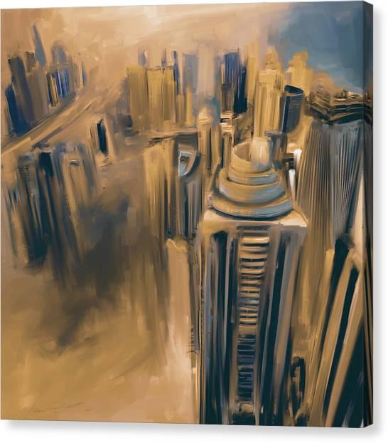 Dubai Skyline Canvas Print - Painting 778 5 Dubai Skyline by Mawra Tahreem