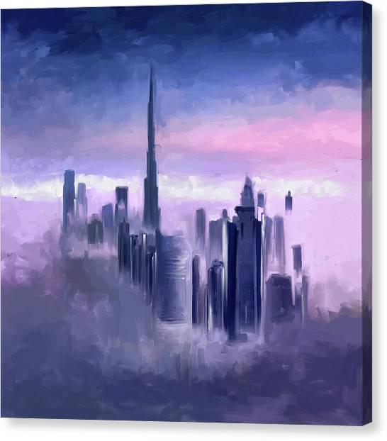 Dubai Skyline Canvas Print - Painting 779 1 Dubai Skyline by Mawra Tahreem