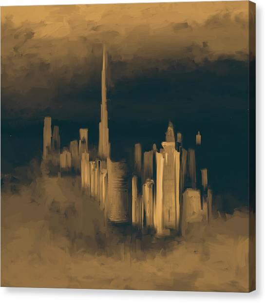 Dubai Skyline Canvas Print - Painting 779 3 Dubai Skyline by Mawra Tahreem