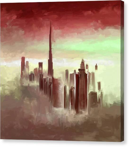 Dubai Skyline Canvas Print - Painting 779 4 by Mawra Tahreem