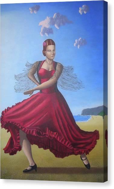 Painting Artwork Flamenco Dancing In Seville Beach  Canvas Print by Luigi Carlo
