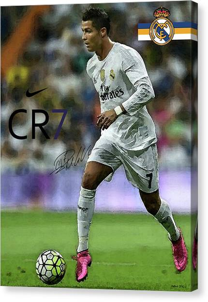 Ac Milan Canvas Print - Mixed Media Painting, Signed, Cristiano Ronaldo, Real Madrid, Cr 7 by Thomas Pollart