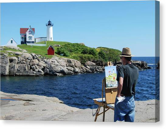 Painting Nubble Lighthouse Canvas Print