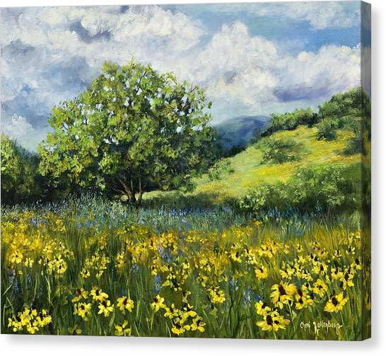 Painting Of Black-eyed Susans In Oklahoma Landscape Canvas Print