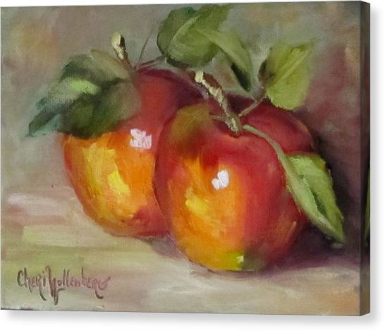 Painting Of Delicious Apples Canvas Print