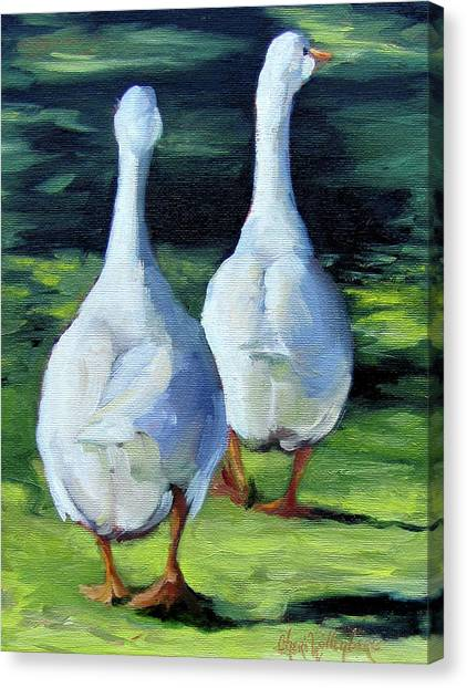Painting Of Ducks Waddling Home Canvas Print