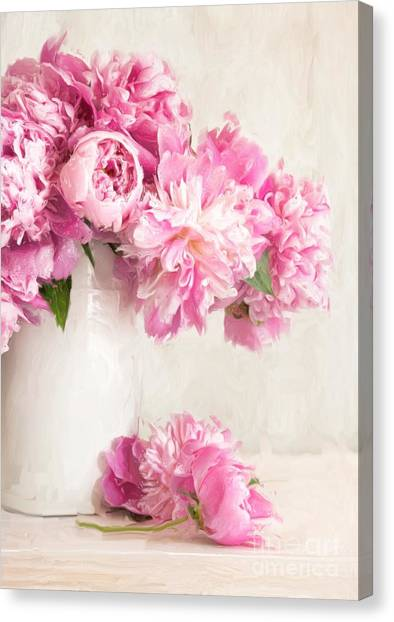 Painting Of Pink Peonies In Vase/digital Painting   Canvas Print
