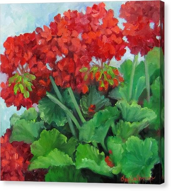 Painting Of Red Geraniums Canvas Print