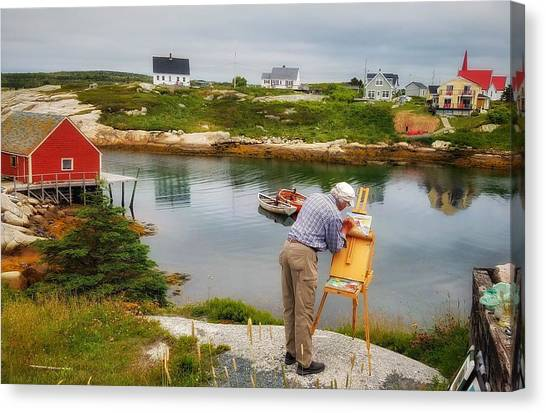 Painting Peggys Cove Canvas Print