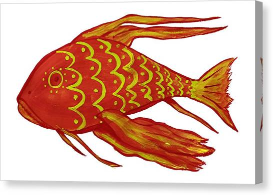 Painting Red Fish Canvas Print