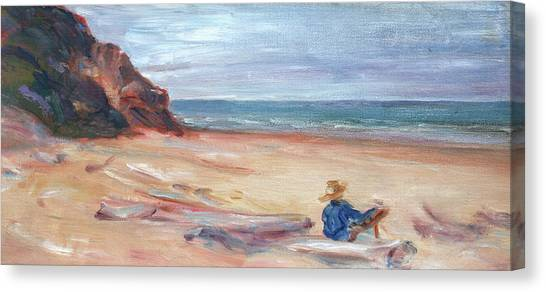 Painting The Coast - Scenic Landscape With Figure Canvas Print