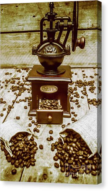 Drawers Canvas Print - Pair Coffee Bean Bags Spilled In Front Of Grinder by Jorgo Photography - Wall Art Gallery