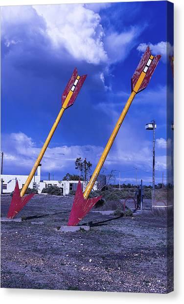 Timeworn Canvas Print - Pair Of Roadside Arrows by Garry Gay