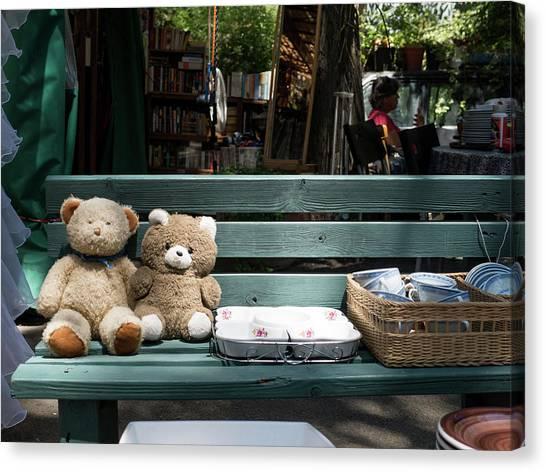 Teddy Bear Lovers On The Banch Canvas Print