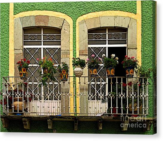 Pair Of Windows In Green Canvas Print by Mexicolors Art Photography
