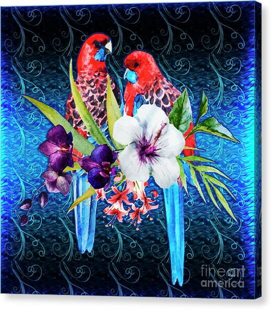 Paired Parrots Canvas Print