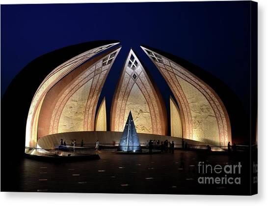 Pakistan Monument Illuminated At Night Islamabad Pakistan Canvas Print