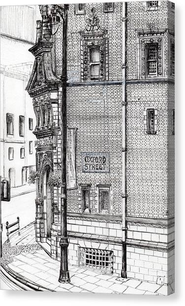 Pen And Ink Drawing Canvas Print - Palace Hotel Oxford Street Manchester by Vincent Alexander Booth