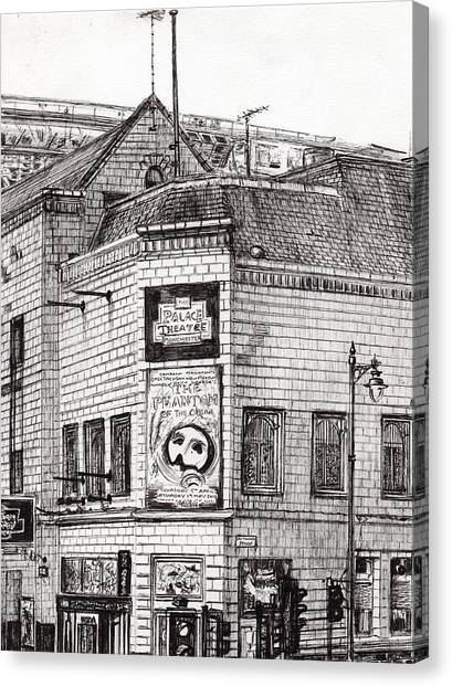 Pen And Ink Drawing Canvas Print - Palace Theater Manchester by Vincent Alexander Booth