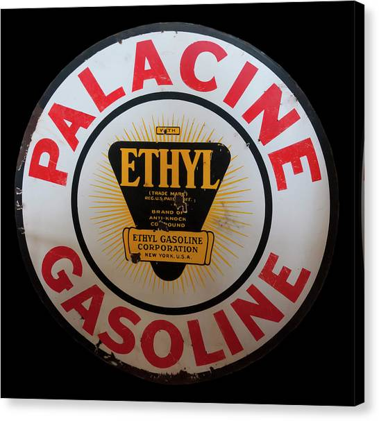 Canvas Print featuring the photograph Palacine Gasoline Sign by Chris Flees