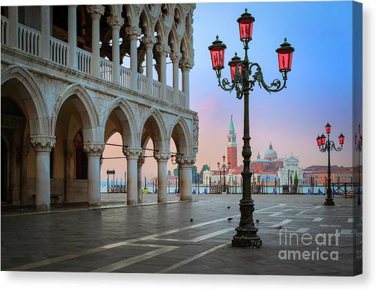 Flag Canvas Print - Palazzo Ducale by Inge Johnsson