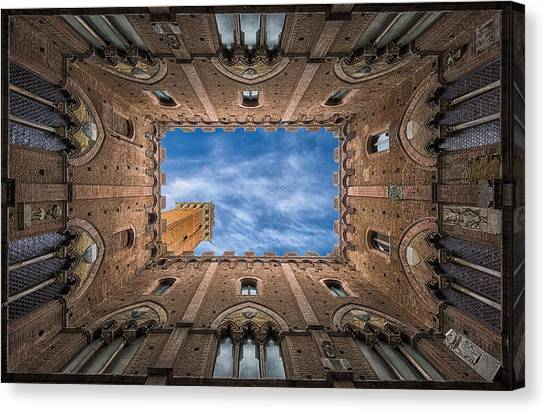 Tower Canvas Print - Palazzo Pubblico - Siena - Nv by Frank Smout Images