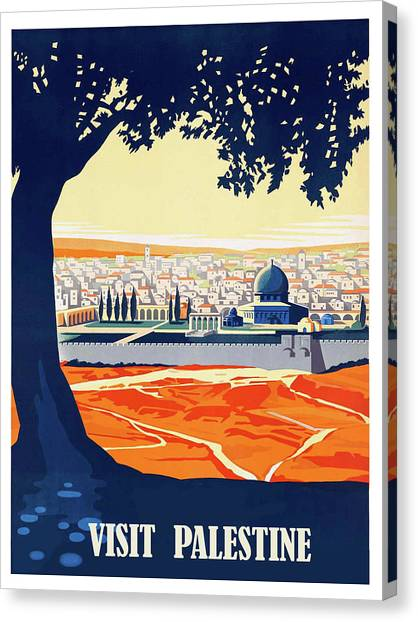 Palestinian Canvas Print - Palestine, Tree Shade, Vintage Travel Poster by Long Shot