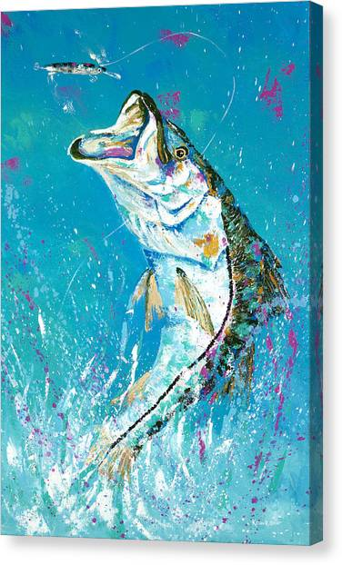 Pallet Knife Jumping Snook Canvas Print