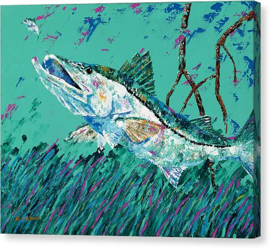 Pallet Knife Snook In The Mangroves Canvas Print