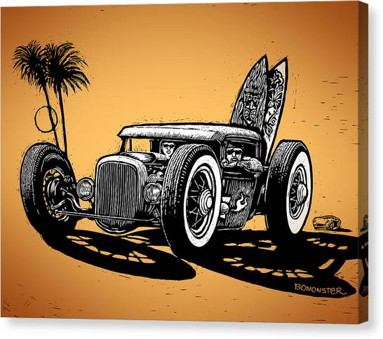 Surfboard Canvas Print - Palm Beach by Bomonster