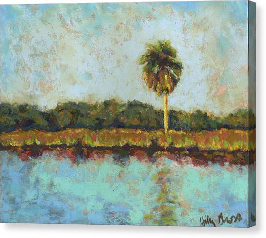 Palm On Spruce Canvas Print by Hillary Gross