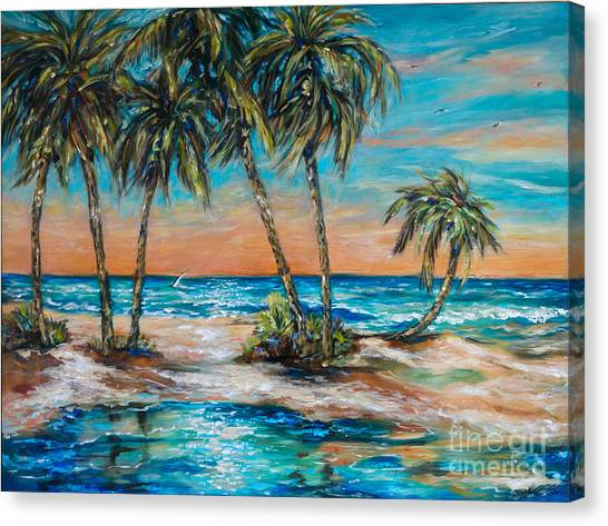 Palm Reflection Lagoon Canvas Print