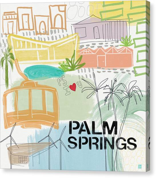 Spring Trees Canvas Print - Palm Springs Cityscape- Art By Linda Woods by Linda Woods