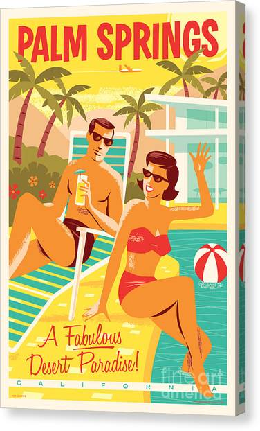 California Canvas Print - Palm Springs Retro Travel Poster by Jim Zahniser