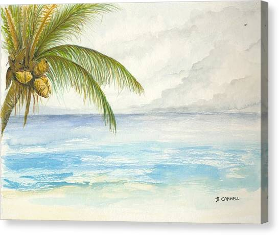 Canvas Print featuring the digital art Palm Tree Study by Darren Cannell