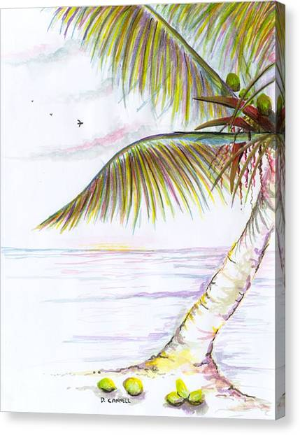 Canvas Print featuring the digital art Palm Tree Study Three by Darren Cannell