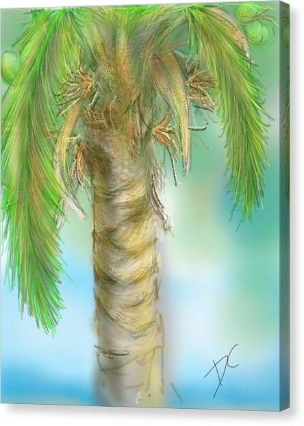 Canvas Print featuring the digital art Palm Tree Study Two by Darren Cannell