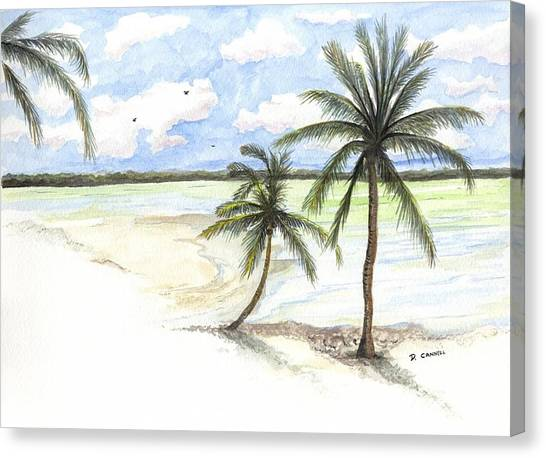 Canvas Print featuring the painting Palm Trees On The Beach by Darren Cannell