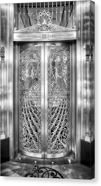 Canvas Print featuring the photograph Palmer Hotels Peacock Door by Howard Salmon